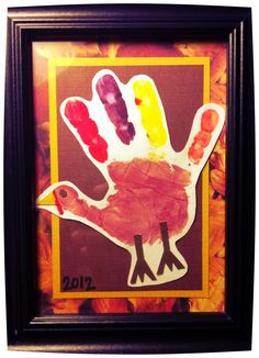 Fun Thanksgiving craft! My 2 year old enjoyed getting her hand painted different colors for the turkey and I made it a keepsake:) Their hands are only small for so long!