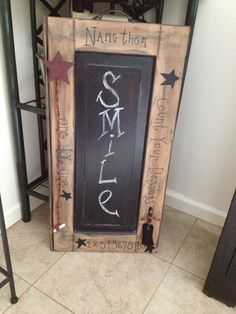 Primitive chalkboard.  To view more, visit Racquel's Country Creations on Facebook at https://www.facebook.com/RacquelsCountryCreations    Primitive creations including signs, refinished furniture, all personalized to your liking.  Bring country into your home.  Be sure to LIKE the page and view the beautiful handcrafted items.