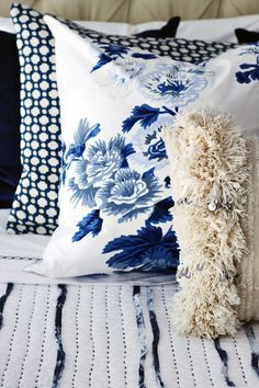 One Room Challenge Master Bedroom Makeover by Hunted Interior // Blue Bedroom // Bed Pillow Pattern Mix