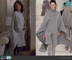 Olivia's grey caped coat on Scandal.  Outfit Details: http://wornontv.net/49047/ #Scandal