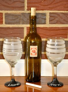 personalize your own wine glass by writing your name with chalk.  great for parties and gifts!