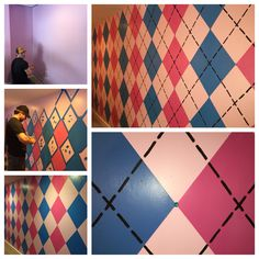 Monster High girls bedroom argyle painting hot pink, lavender-pink, blue & black with teal gemstones accent wall