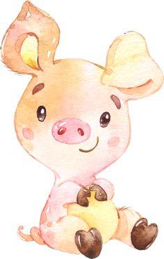cochons,tubes Cute Animal Drawings, Cartoon Drawings, Cute Drawings, Pig Illustration, Illustrations, Watercolor Animals, Watercolor Paintings, Pig Drawing, Cute Pigs