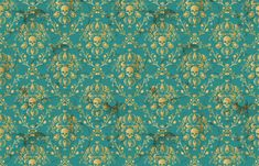 Teal Skull Damask fabric by elizabeth on Spoonflower - custom fabric