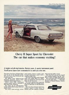 Vintage Advertising For The 1965 Chevrolet Chevy II Super Sport Automobile Mercury Cars, Car Brochure, Classic Chevrolet, Car Posters, Car Advertising, Super Sport, General Motors, Sport Cars, Vintage Advertisements