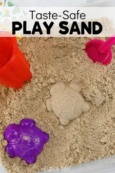 If you don't have sand, make your own that's even taste-safe for babies and toddlers! It's great in a sensory bin and perfect for some summer outdoor play! Best of all, there are only two ingredients.