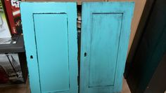 Old table doors turquoise patina