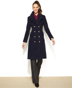Anne Klein Double-Breasted Wool-Cashmere-Blend Military Coat on shopstyle.com