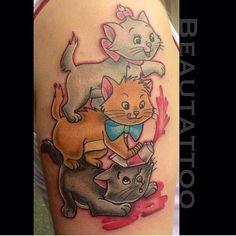 Super cute Aristocats tattoo by the ever so talented @beautattoo! #disney #disneyland #disneyworld #disneyinkfiends #waltdisney #waltdisneytattoo #aristocats #aristocatstattoo #marie #toulouse #berlioz #instadisney