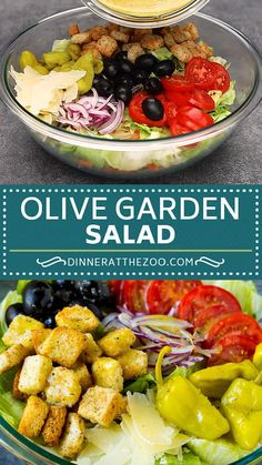 A homemade version of the classic Olive Garden salad with fresh veggies and Italian dressing. A homemade version of the classic Olive Garden salad with fresh veggies and Italian dressing. Easy Salads, Healthy Salads, Summer Salads, Healthy Eating, Bbq Salads, Salads For A Crowd, Healthy Food, Healthy Salad With Chicken, Salads For Dinner