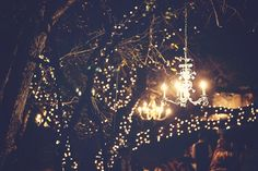 Chandelier + twinkle lights = beautiful outdoor wedding lighting - PHOTO SOURCE • JESSICA LEIGH PHOTOGRAPHIC