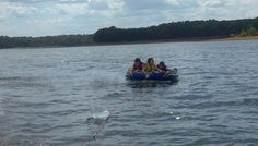 How many passengers do you see on this raft? Hint: There were only three humans.