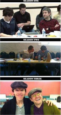 Benedict Cumberbatch and Martin Freeman at the first table readings of Sherlock for each season.