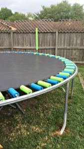 Pool Noodle Trampoline Safety DIY. A Pinterest Project success