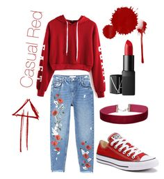 """Casual red"" by nahida03 on Polyvore featuring MANGO, WithChic, Converse, Miss Selfridge and NARS Cosmetics"