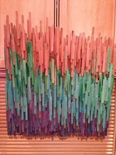 my version of the Etsy wood sculpture.  Dyed 1,000 popsicle sticks.