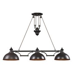 Westmore Lighting Crossens Park 13-in W 3-Light Oiled Bronze Kitchen Island Light with Tinted Shade
