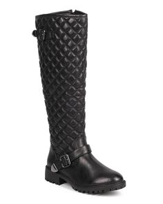 Qupid DC11 Women Quilted Leatherette Knee High Belted Zip Motorcycle Boot - Black >>> Click image for more details.