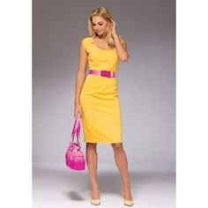 Yellow dress with pink accessories – Dress and bottoms