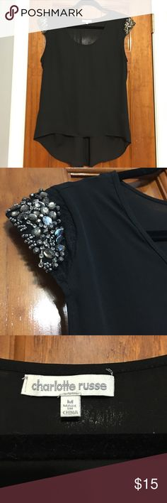 High low black embellished sleeve blouse Size M worn once Charlotte Russe Tops Blouses
