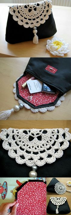 Free tutorial to make this leather and crochet clutch bag Free tutorial for making this leather and crochet bag Crochet Clutch Bags, Crochet Handbags, Crochet Purses, Crochet Bags, Crochet Fabric, Free Crochet, Purse Patterns, Sewing Patterns, Crochet Patterns