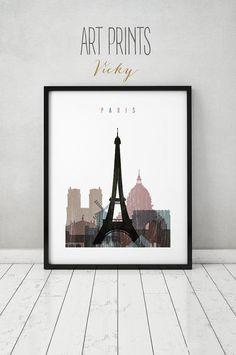 Paris print Paris distress poster Wall art Paris by ArtPrintsVicky