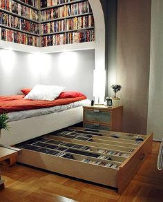Great bed nook and reading space....