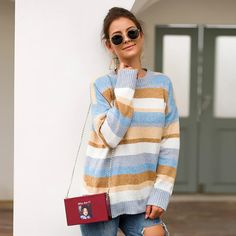 women winter sweater 2019 fashion autumn pullover long sleeve female stripe sweater plus size o-neck loose knitted jumper Home Fashion, Fashion News, Loose Sweater, Long Sleeve Sweater, Winter Sweaters, Sweaters For Women, Velvet Fashion, Sweater Outfits, Sweater Fashion