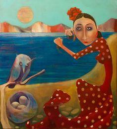 Flamenquita Buo y 3 huevos. Acrílico sobre lienzo 90x100cm