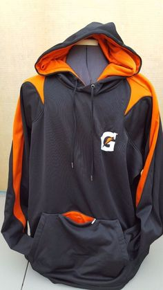 Gatorade Hooded Pullover w/Stripe -  BLACK / ORANGE Men's Size XL #HOLLOWAY #Hoodie