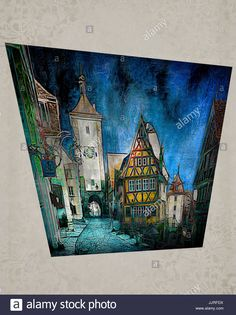 DIGITAL ART: Rothenburg ob der Tauber, Germany Stock Photo