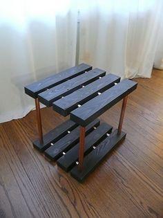Copper Pipe Furniture white oak & copper pipe side table with copper pipe shelfpaul