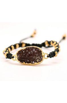 Natural Drusy Bracelet Stunning Macrame Sparkly Adjustable Bracelet Amy Fine Design