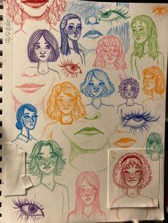 Arte Grunge, Art Drawings Sketches Simple, Indie Drawings, Pencil Art Drawings, Colorful Drawings, Drawing Ideas, Arte Sketchbook, Sketchbook Ideas, Art Diary