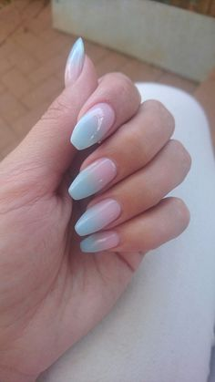Pastel Pink and Blue Ombre Coffin shaped nails