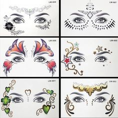 8pcs/lot Body paint Masquerade golden flash tattoo paste face temporary tattoos