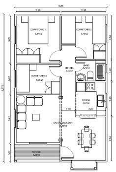 Resultado de imagen para modelos de casas de una planta 3 dormitorios