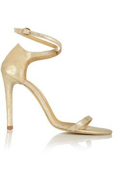 Sandale cu toc si barete subtiri piele aurie Stuart Weitzman, Booty, Shoes, Fashion, Moda, Swag, Zapatos, Shoes Outlet, Fashion Styles