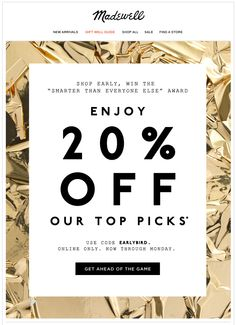 """Madewell. Holiday Shopping email. Subject line: Win the """"smarter than everyone else"""" award"""