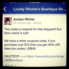 Check it out and share with everyone!! If you purchase over $10 then you'll get 40% off! Coupons code: LRB40 when you're on the checkout! :) www.etsy.com/shop/LrsBowtique