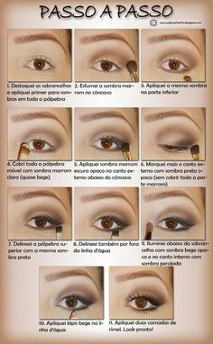 Best Ideas For Makeup Tutorials : passo a passo de maquiagem preta e marrom - Bing Imagens - Flashmode Worldwide Eye Makeup Steps, Makeup Tips, Hair Makeup, Beauty Make-up, Make Beauty, Beauty Nails, How To Make Hair, Eye Make Up, Make Up Gesicht