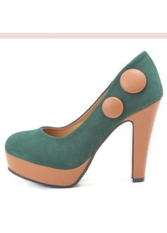 Round Head Suede Jasper Chunky Heel Shoes With Decoration