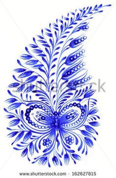 high resolution, hand drawn illustration in Ukrainian folk style - stock photo