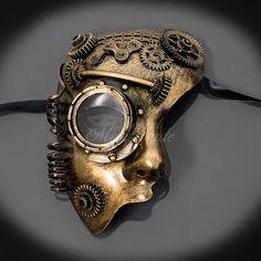 Steampunk máscara con engranajes Gold-negro ojos máscara ciberpunk cara Mask