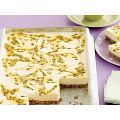 Coconut Passionfruit Slice {cheesecake} ~ no-bake cream cheese filling over shredded coconut & cookie crumb base Passionfruit Slice, Passionfruit Cheesecake, Passionfruit Recipes, No Bake Slices, Coconut Slice, Coconut Bars, Coconut Cookies, Dessert Aux Fruits, Coconut Recipes