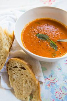 Roasted Tomato Soup by dinnerwasdelicious:  Velvety smooth, without being creamy or rich, and sweet-savory, without tasting like a bowl of marinara, this is perfect for your late season tomatoes. #Soup #Tomato #Healthy