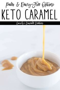 This Keto Caramel Sauce Recipe is thick, creamy, pourable, and is shockingly similar to traditional caramel sauce in both taste and texture! Low Sugar Desserts, Low Carb Deserts, Dairy Free Caramel Sauce Recipe, Paleo Recipes, Low Carb Recipes, Sugar Free Treats, Vegan Caramel, Paleo Dairy