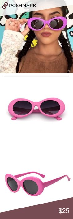 """Lizzy"" Pink Oversized Oval Retro Shades Retro and cool, these oval sunglasses are designed with a rounded oval-shaped frame and round lenses in neutral hues. Complete with arms that taper at the ends and reinforced metal hinges, these chic sunglasses add a fun element to any outfit. Made with plastic based frame and 100% UV protected lenses.   Color: Pink frames with smoky black lens Measurements: Lens Height: 41 mm (1.62 in) Lens Width: 51 mm (2.01 in) Bridge: 17 mm (0.67 in) Frame Width…"