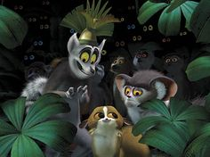 King Julien, Maurice, and Mort