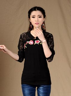 TC000360 Slim short sleeve tops lace T-shirt for women